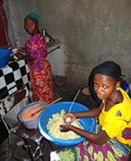 Making mdazi for children getting no food.